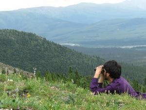 Eric Gulson birding in the mountains. Photo by Teresa M Peagan