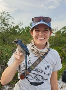 Meredith Heather holding a Florida Scrub-Jay.