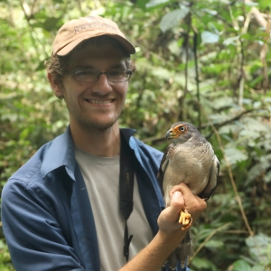 Graham Montgomery holding a Lined Forest Falcon.